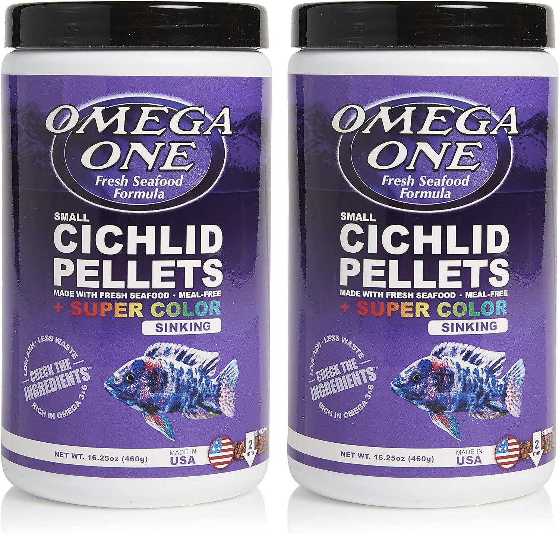 Omega One Super Color Sinking Cichlid Pellets, 2mm Small Pellets, 16.25 oz, Pack of 2