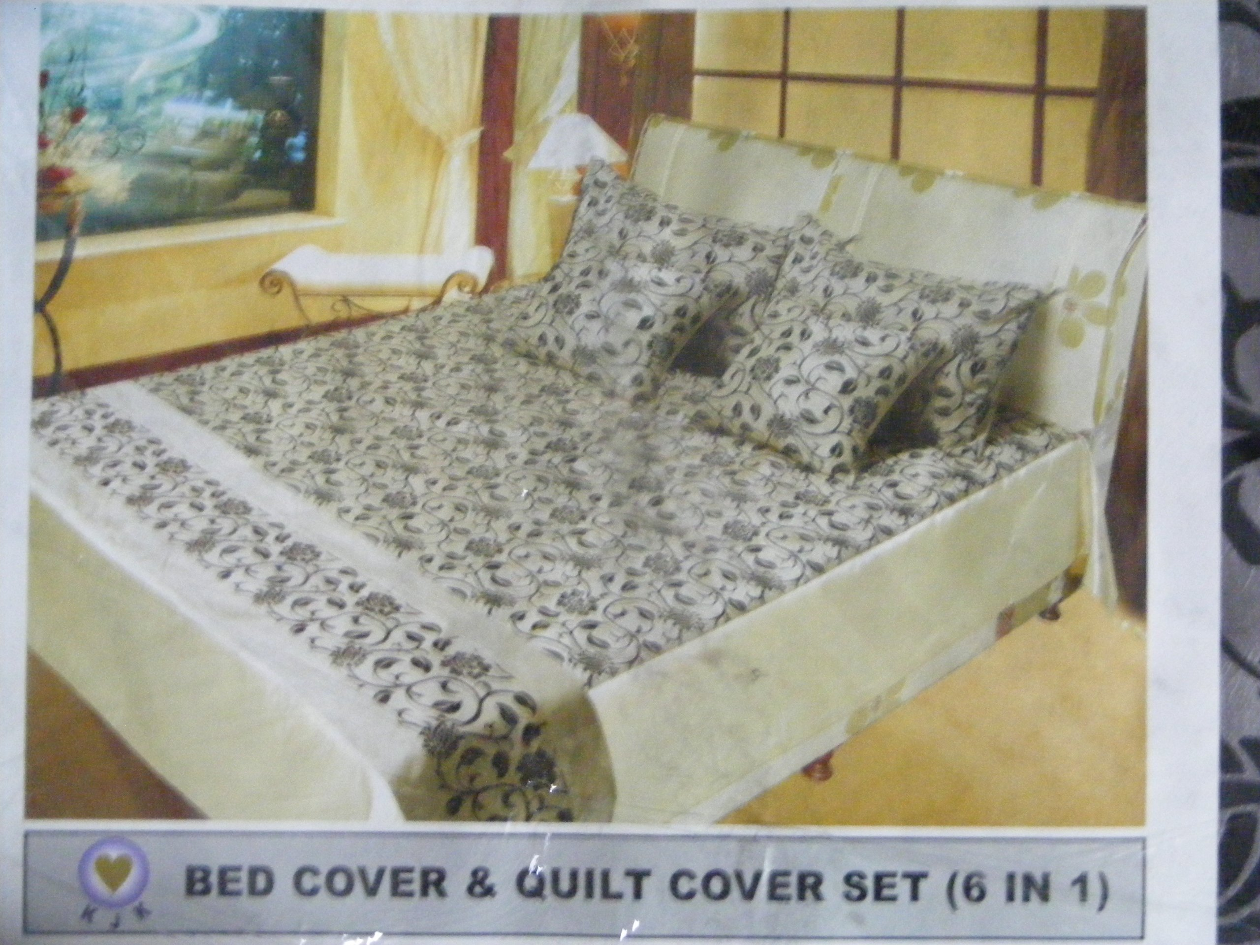 6 piece Thai Silk/Satin Bed Cover Set (KING SIZE) Design #104- Ivy Floral Pattern by KING