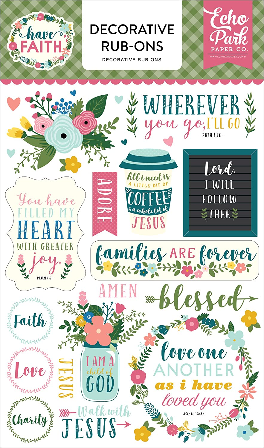 Echo Park Paper Company HAF152065 Have Faith Rub Ons, Purple, Pink, Mint Green, Teal, Coral B07C29MHB3