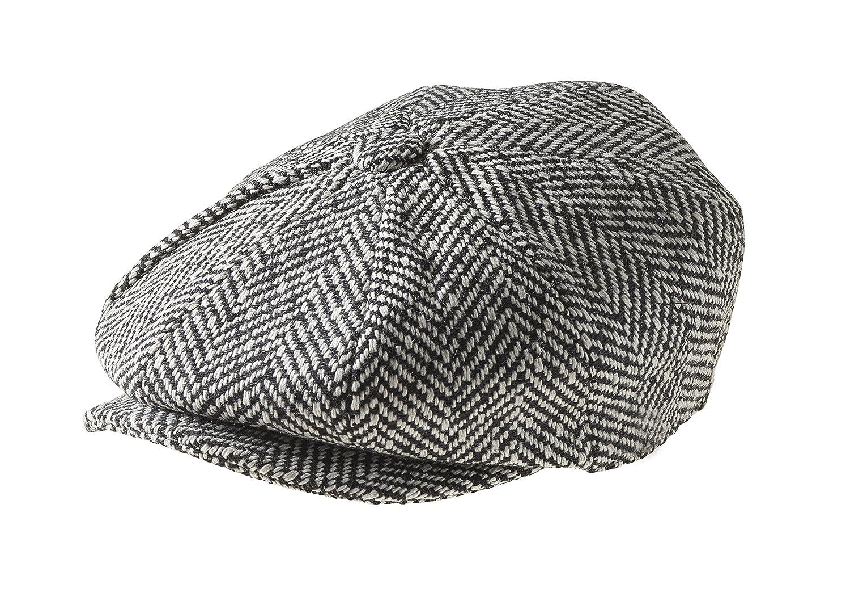 Peaky Blinders Men's 8 Piece 'Newsboy' Style Flat Cap Wool 1594 BK XL