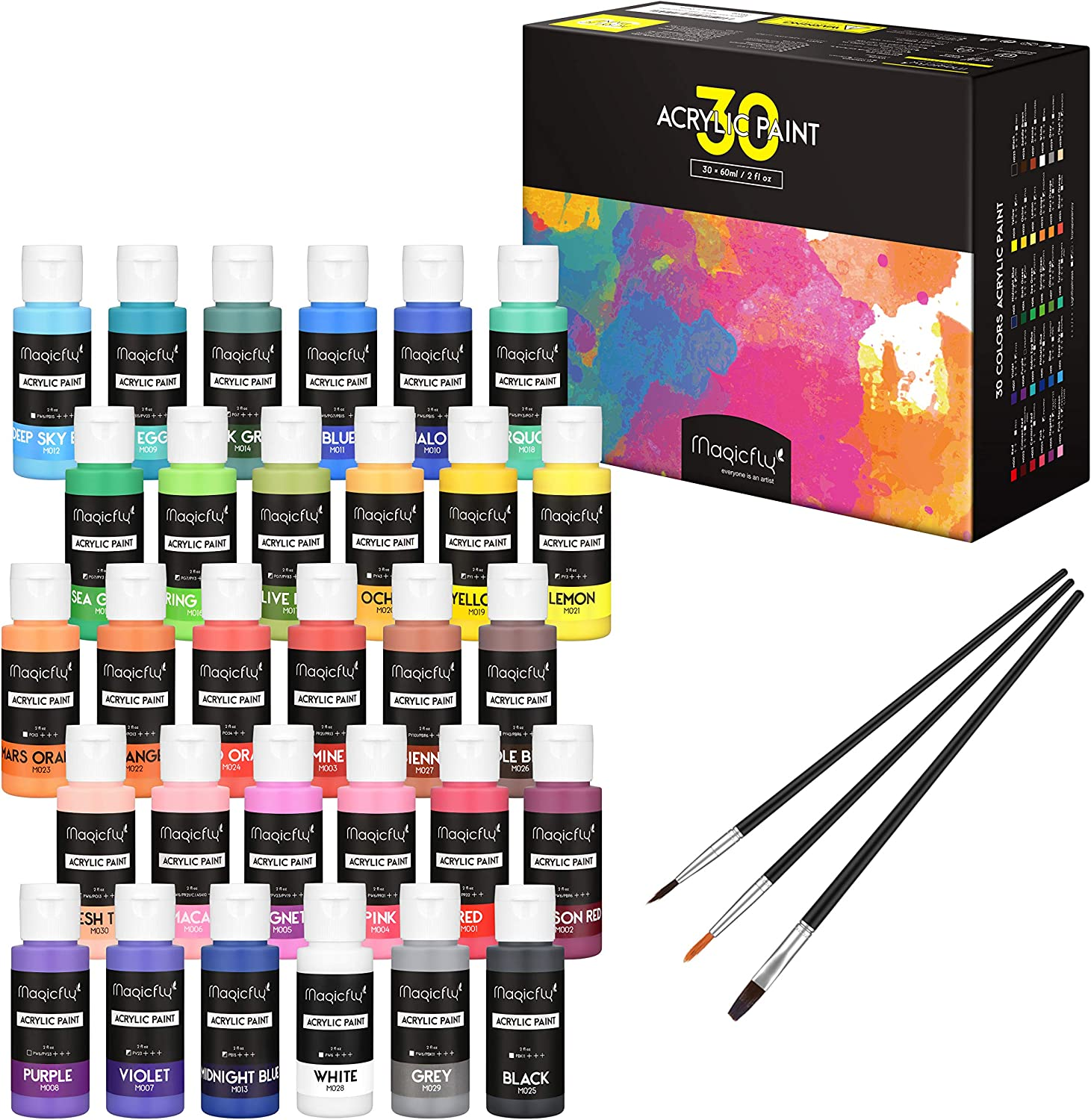Magicfly 30 Colors Acrylic Paint Set (2fl oz/60ml Each), Non-Toxic Craft Paints with 3 Brushes, for Multi-Surface Paint on Canvas, Paper, Wood, Stone, Ceramic and Model : Office Products