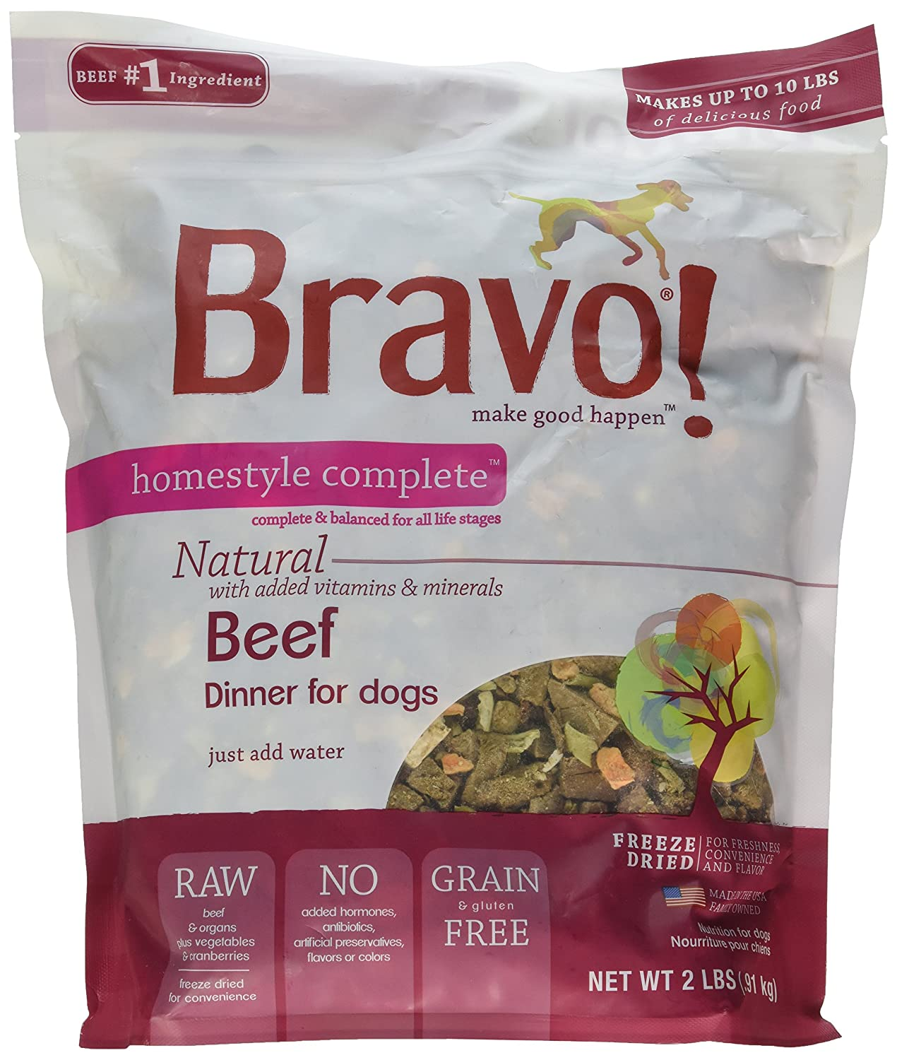 (Beef, 0.9kg.) Bravo Homestyle Complete Freeze-Dried Dog Dinners