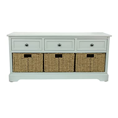 Décor Therapy FR6297 Montgomery Bench, Antique Iced Blue