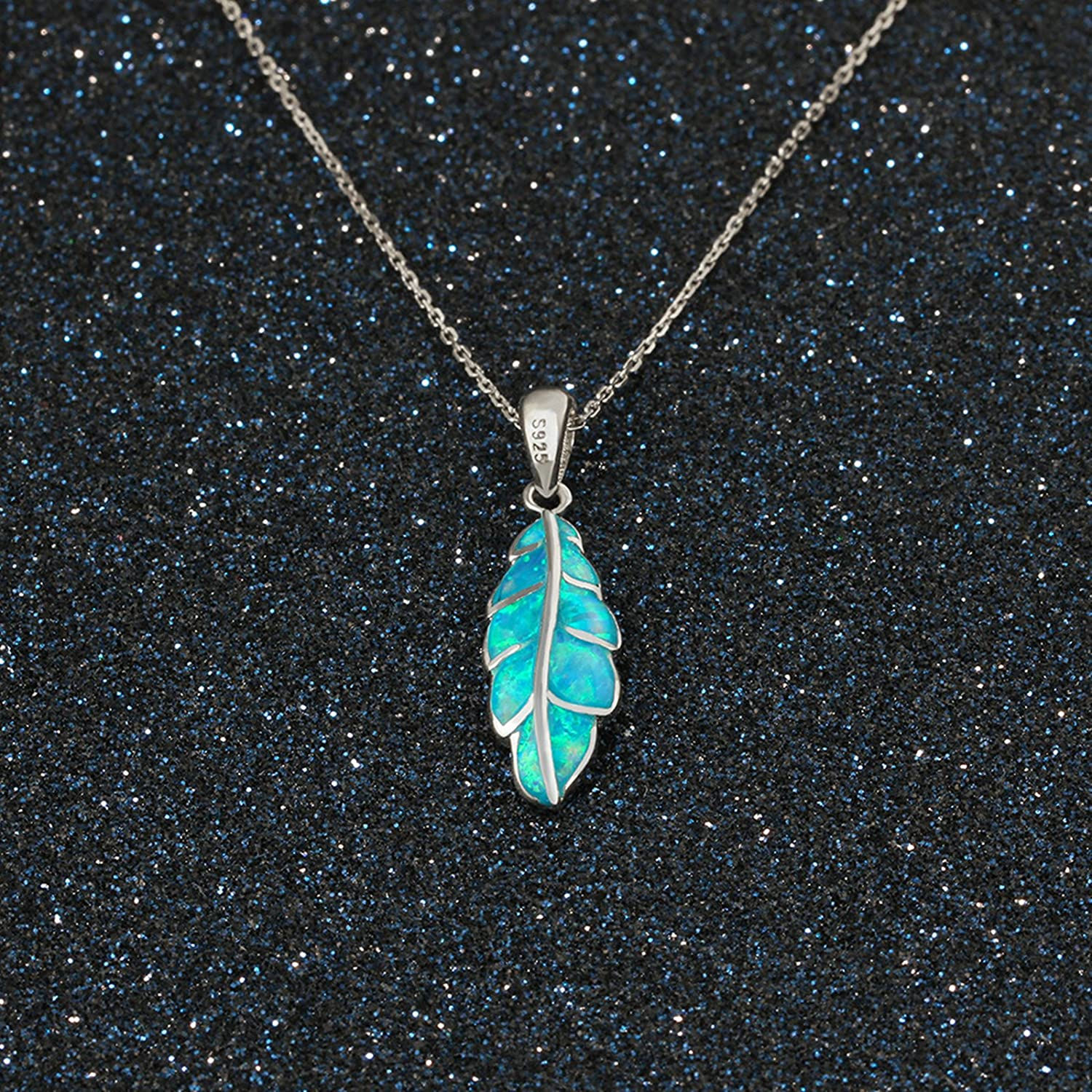 S925 Silver Leaf Pendant Necklace Blue Created-Opal Unisex for Women and Men ANAZOZ Women Jewelry