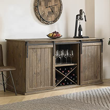 Amazon Com Wine Enthusiast Mesa Sliding Barn Door Credenza Rustic