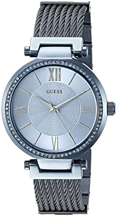 556a8f5c4259 Amazon.com  GUESS Women s Blue Analog Woven Watch  Guess  Watches