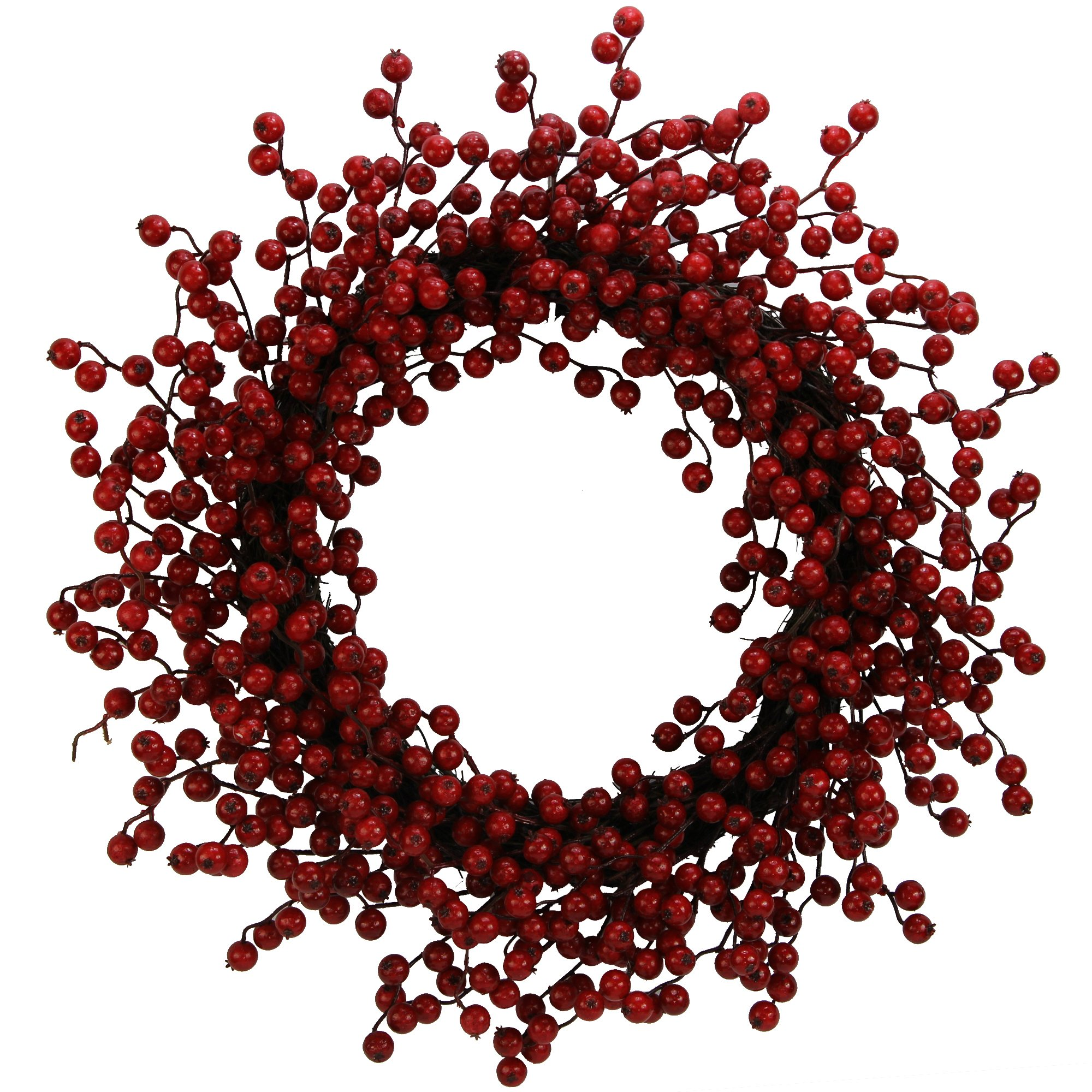 Admired By Nature Mega Faux Red Berry Christmas Wreath, 22'', Natural