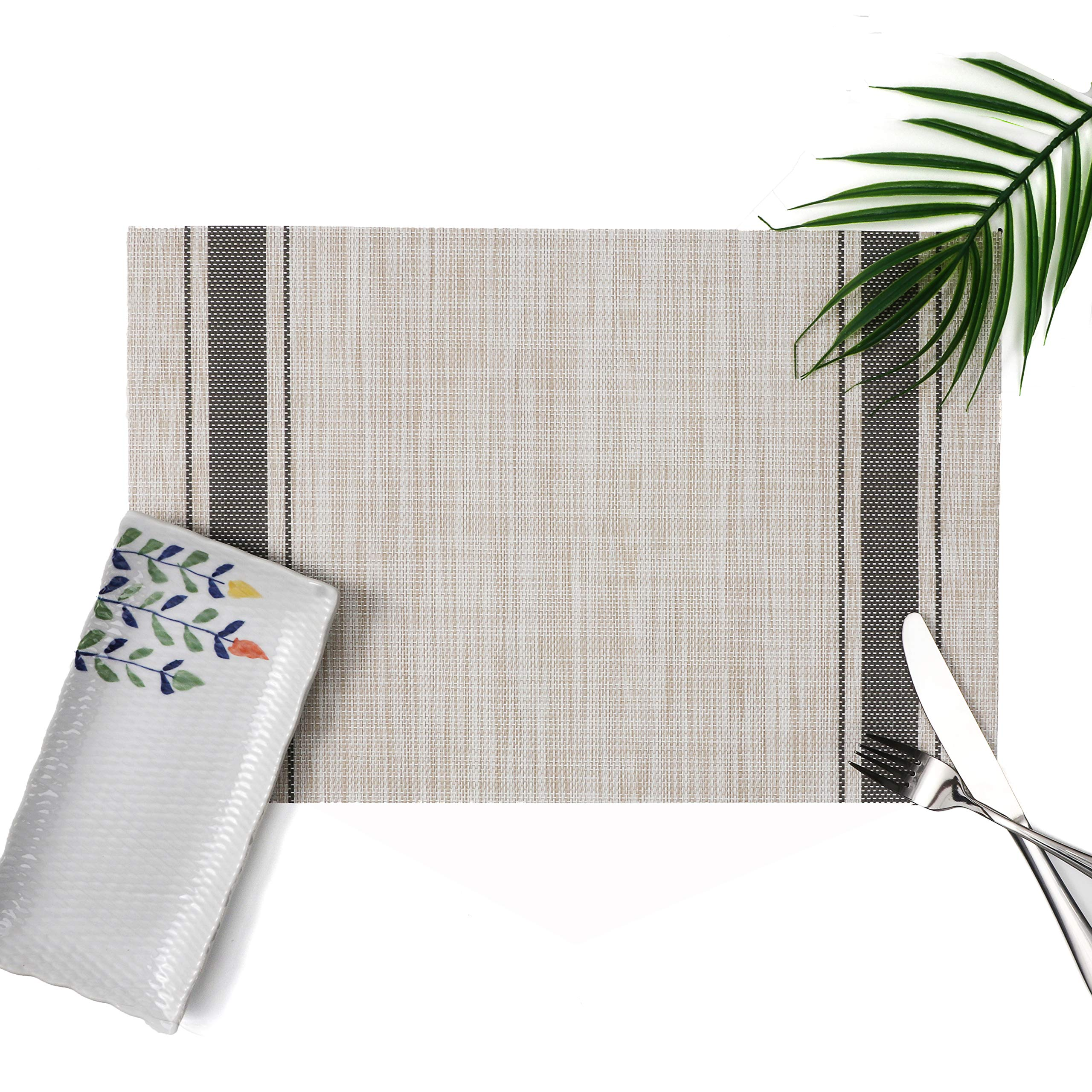 Millie Home Placemats for Dining Table Vinyl Heat Resistant Wipeable Placemat Non-Slip Washable PVC Kitchen Place Mats Set of 6,Gray Stripe