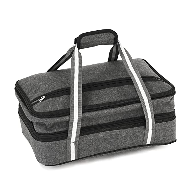 Amazon.com: Insulated Expandable Double Casserole Carrier and Lasagna Holder for Picnic Potluck Beach Day Trip Camping Hiking - Hot and Cold Thermal Bag in Gray - Tote can hold 11 x 15 or 9 x 13 baking dish: Kitchen & Dining