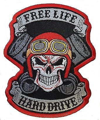 Free Life Hard Drive Biker Jacket Vest Patch 10 x 8 cm Iron on
