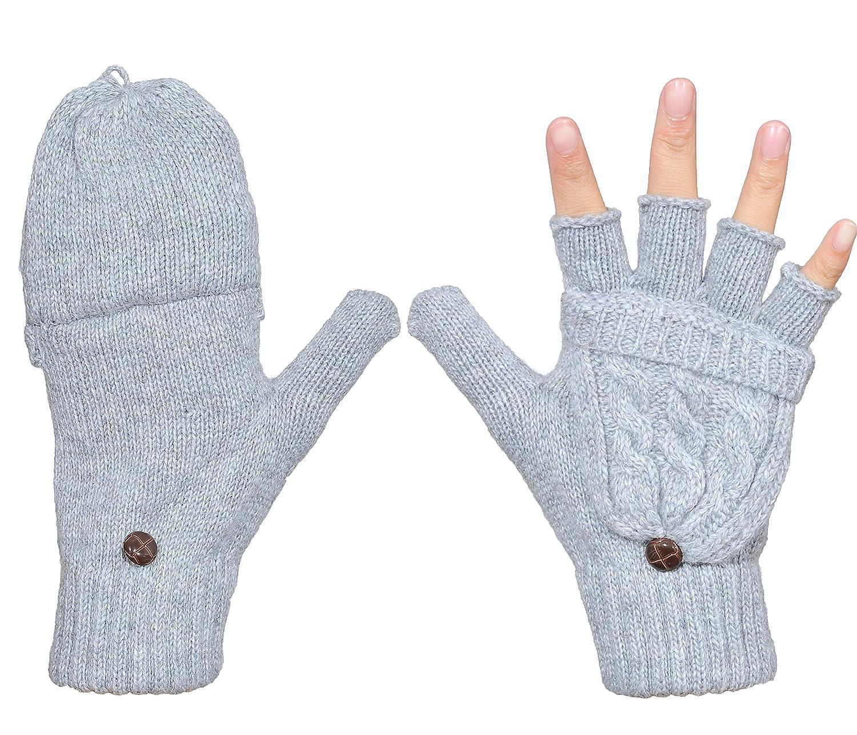 Beurlike Women's Winter Gloves Warm Wool Knitted Convertible Fingerless Mittens