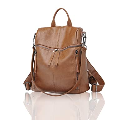 d06eb97d5a Amazon.com  FIGROL Women Backpack Purse Soft PU Leather Casual Travel Bag  Multi-functional Waterproof Backpack (Brown)  Clothing