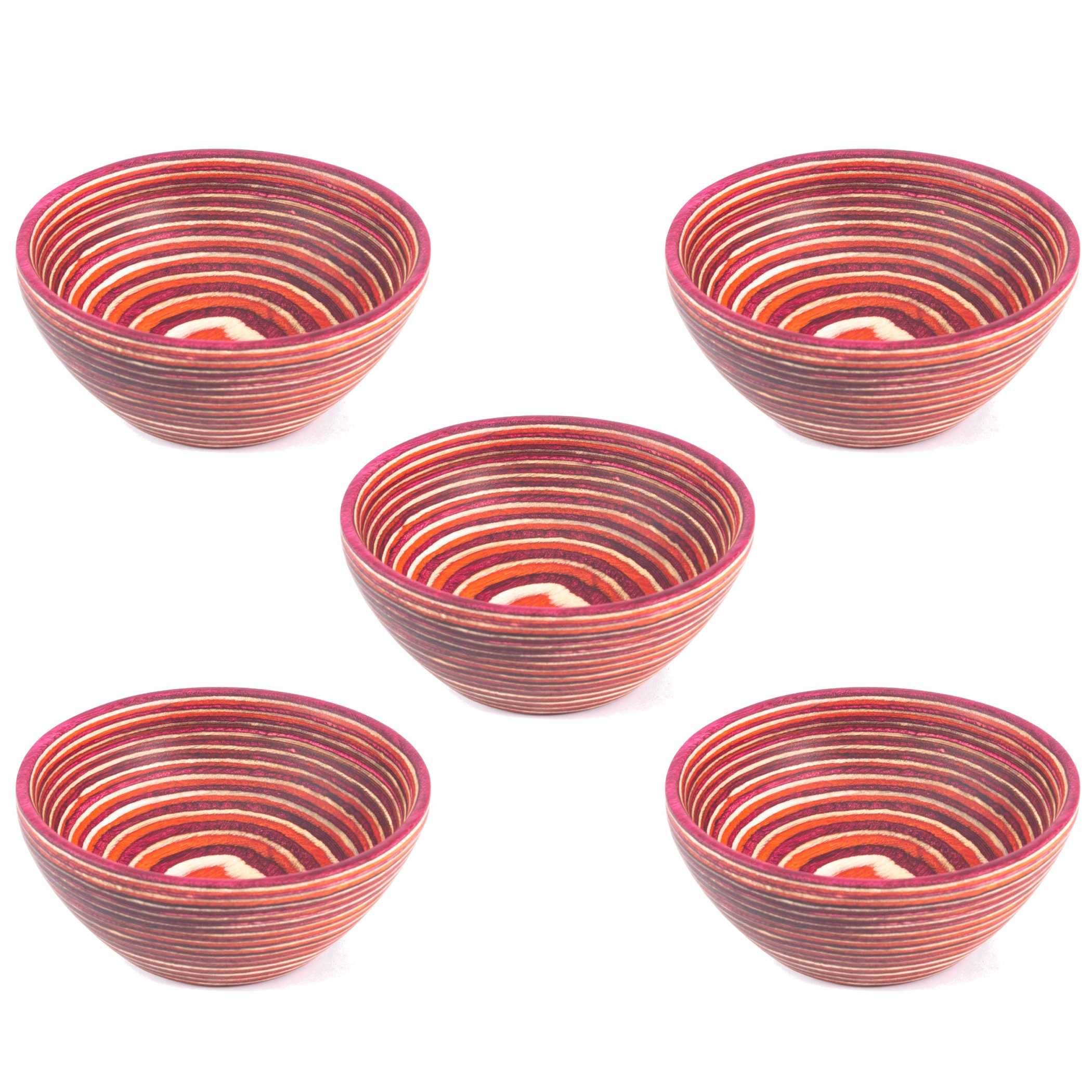 Exotic Pakka Wood Small Snack Bowls Set of 5 Stacking Round Bowls for Condiments and Ingredients - Made with Earth Friendly and Colorful Pakkawood Material by Crate Collective (Red)