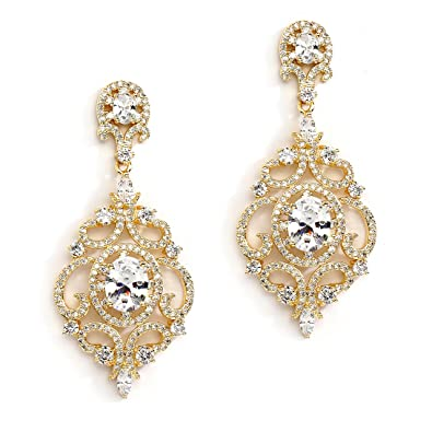 9a3167594 Mariell 14K Gold Plated Clip-On Earrings Cubic Zirconia Wedding or Evening  Victorian Scroll Chandelier