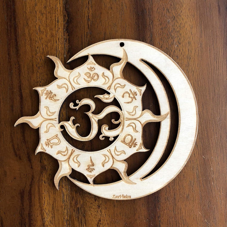 "ZenVizion 5.31"" Sun Moon Union Wall Art, 7 Chakras OM, Sacred Geometry Wall Art, Wooden Wall Art Decor, Yoga Wall Art Hanging, Laser Cut Artwork, Wall Sculpture Symbol, Gift purpose, Car Hanger"