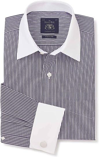 Savile Row Company - Camisa de popelín de algodón con Rayas ...