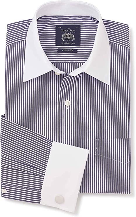 Savile Row Mens Dark Navy White Stripe Cotton Poplin Classic Fit Shirt - Double White Cuff & White Collar 19 1/2
