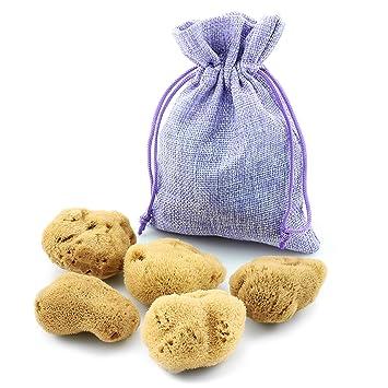 Esponja Menstrual, Juego de 5 en una bolsa de yute, Esponja Natural como alternativa ecológica a los tampones, Poros Finos: Amazon.es: Salud y cuidado ...