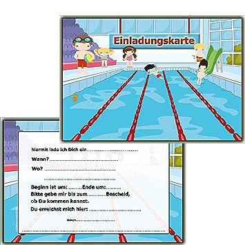 Einladung Kindergeburtstag (8 Stück) Postkarten Schwimmbad Schwimmen