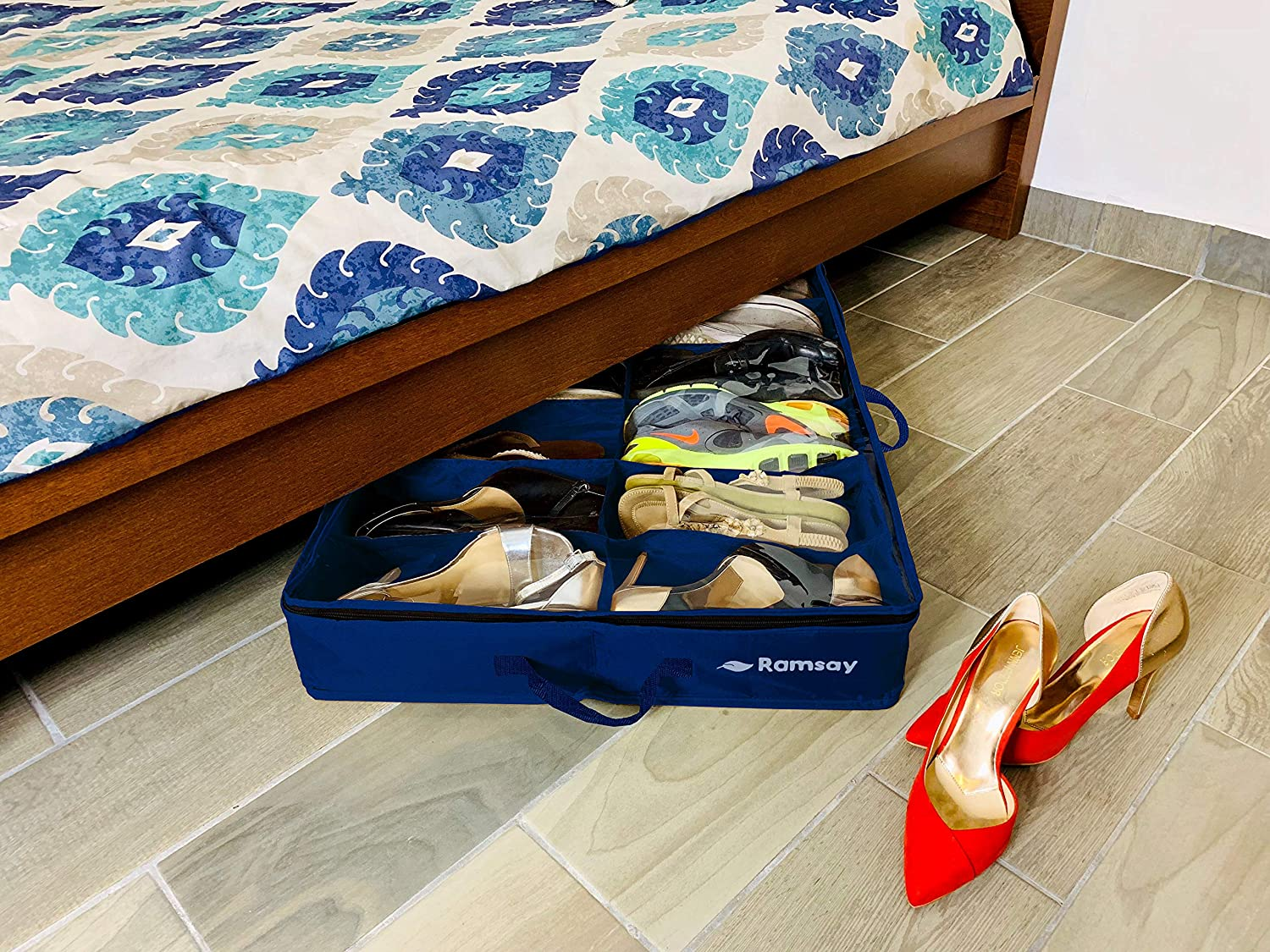 Sturdy Underbed Shoe Storage.Ramsay Under Under Bed Shoe Storage Organizer Strong And Sturdy Double Dust Free Design Space Saver 12 Pair Front Zippered Closure Blue