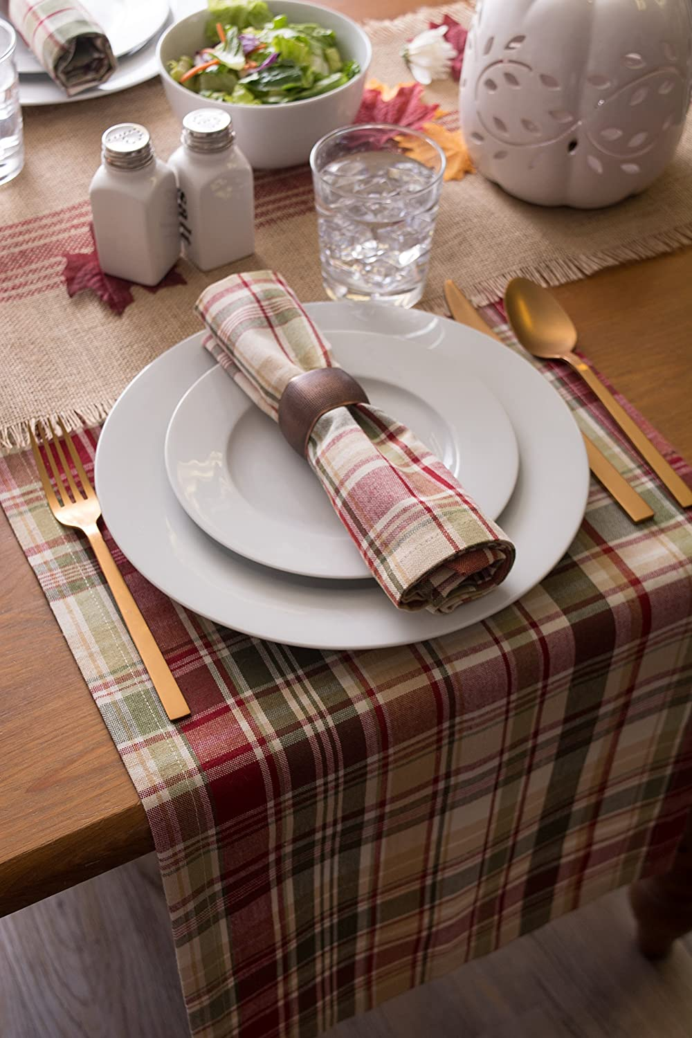 """Cabin Plaid 100% Cotton Table Runner (14x108""""): Home & Kitchen"""