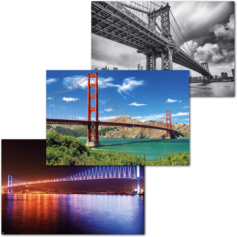 Great Art Set Of 3 Xxl Posters Bridges Golden Gate San Francisco Manhattan New York Bosporus Bridge Istanbul Wall Interior Design Mural Decoration 55 1x39 4in 140x100cm Posters Prints
