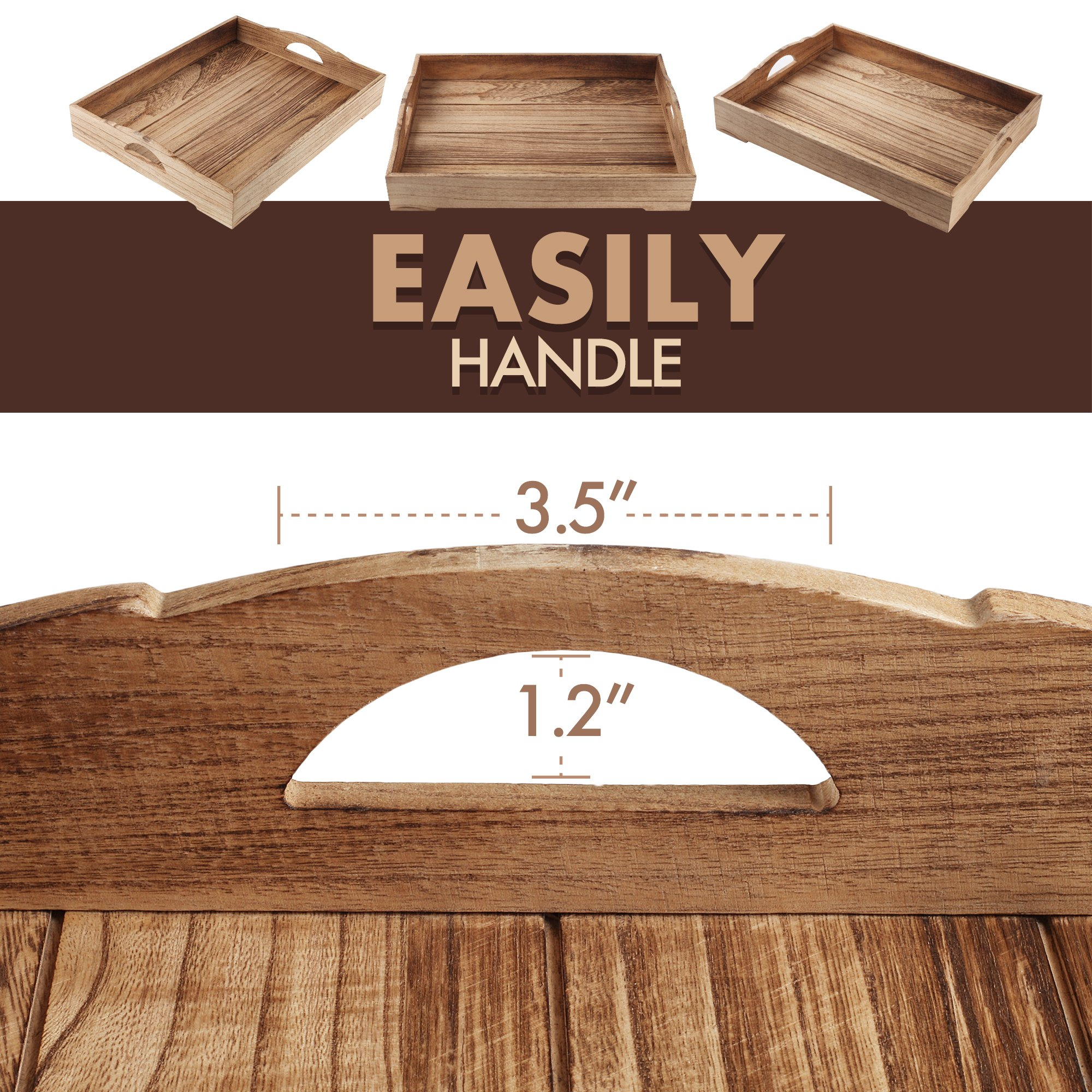 Wood Serving Tray – Suitable for use as an Ottoman Tray, Breakfast in Bed Tray and Home Décor Style Piece – Easy to Carry Handles – 18 x 14 inches – Natural Wood + FREE Home Décor eBook by lifetoenjoy (Image #4)