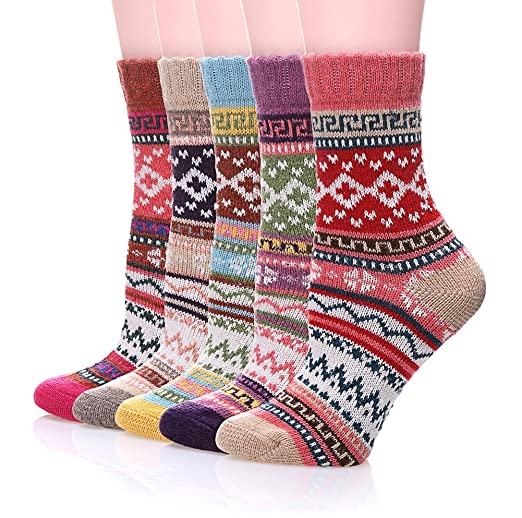 Color City Women's 5-pack Vintage Style Cotton Knitting Wool Warm Winter Crew Socks