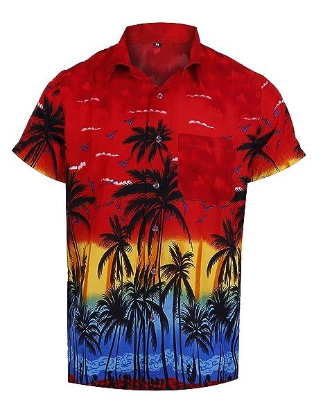 9ba8ce4b8 Virgin Crafts Hawaiian Shirt for Men Casual Button Down Summer Vacation  Beach Alloha Shirt Red