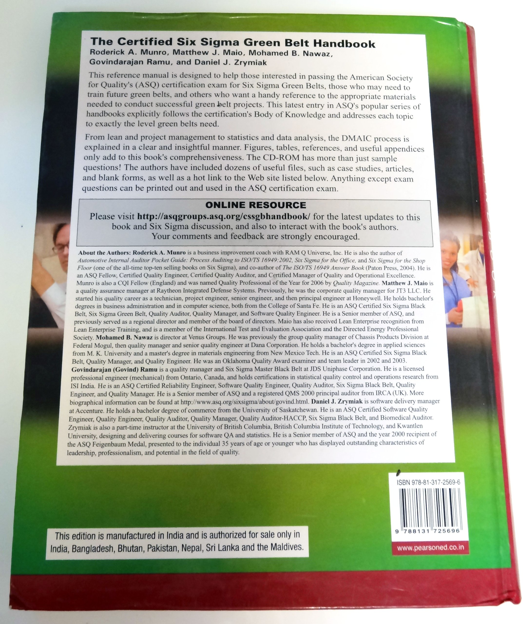The Certified Six Sigma Green Belt Handbook Amazon Munro