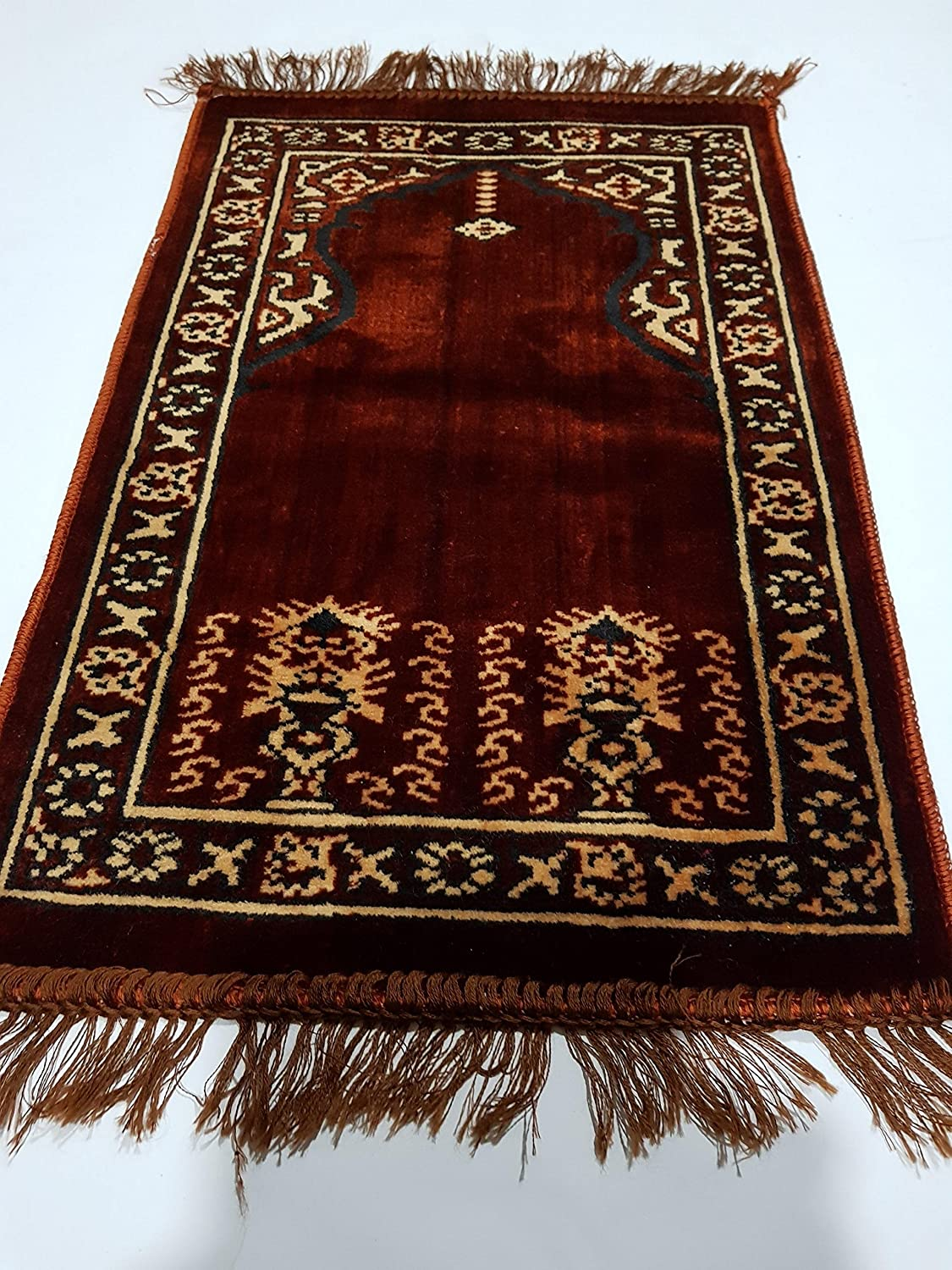 Muslim Kids Prayer Mat, Salah Mat Musallah Mat/ Rug. Early Learner Item (64x40x Red)