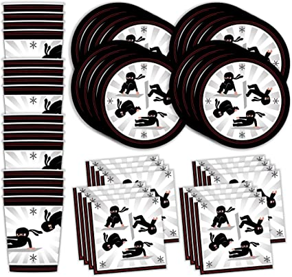 Bestie Planet Ninja Birthday Party Supplies - Cups, Napkins, Plates - 48 Pieces – Ninja Party Supplies For a Ninja Skills or Gymnastics Gathering and ...
