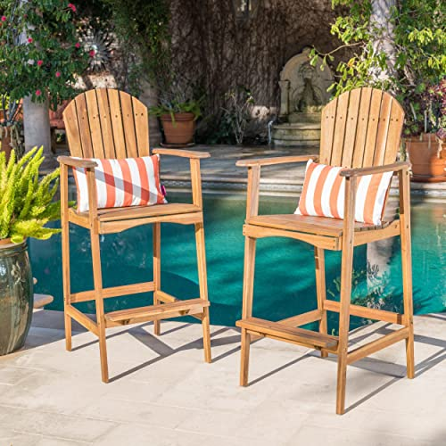 Christopher Knight Home Malibu Outdoor Acacia Wood Adirondack Barstools, 2-Pcs Set, Natural Stained