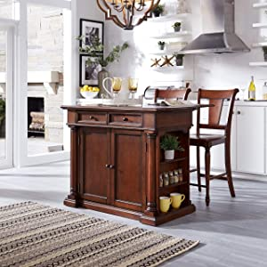 Beacon Hill Cherry Kitchen Island with Wood Top & Two Stools by Home Styles