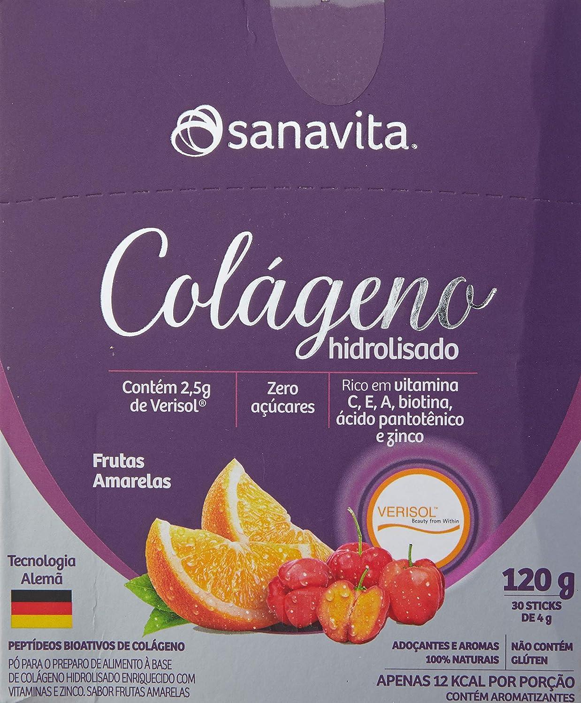 Colágeno Verisol Hidrolisado - 30 Sticke de 4G Frutas Amarelas - Sanavita, Sanavita, 30 Sticks de 4G
