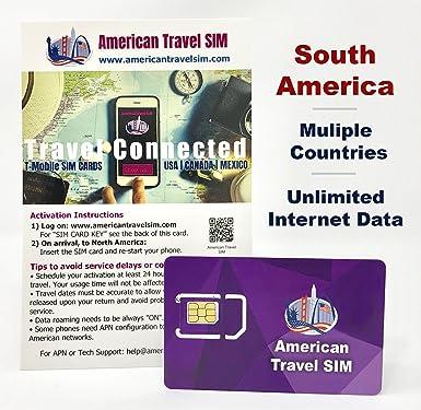 Tarjeta SIM Prepago: Estados Unidos y Sudamérica, Datos de ...