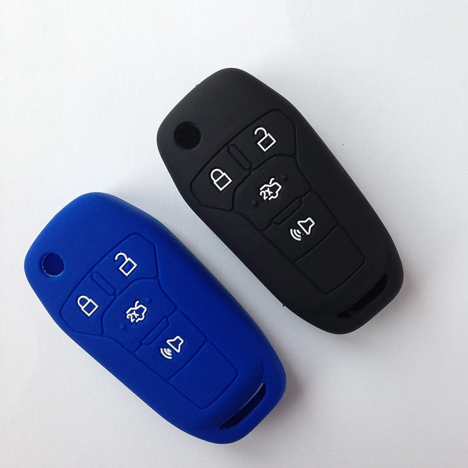 Amazon com 2pcs silicone fob skin cover for 2016 ford fusion ford explorer ford edge flip keyless entry fob remote key protector key jacket holder gift