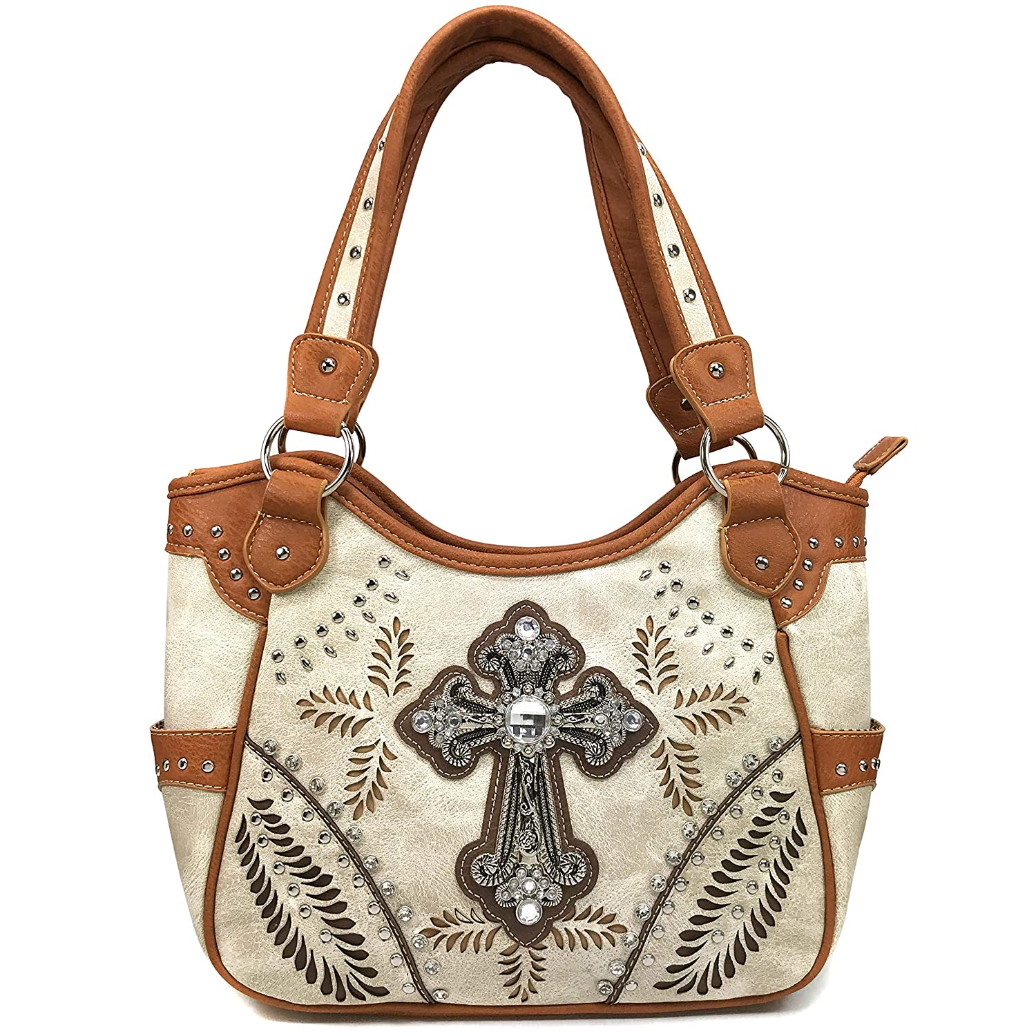 2543ba17c64e Amazon.com  Justin West Tooled Laser Cut Leather Floral Embroidery  Rhinestone Buckle Studded Shoulder Concealed Carry Tote Style Handbag Purse  (Beige ...