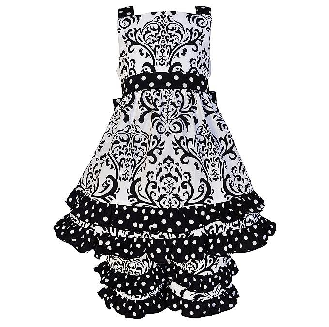 annloren toddler girls sz 23t boutique black white damask dots dress outfit