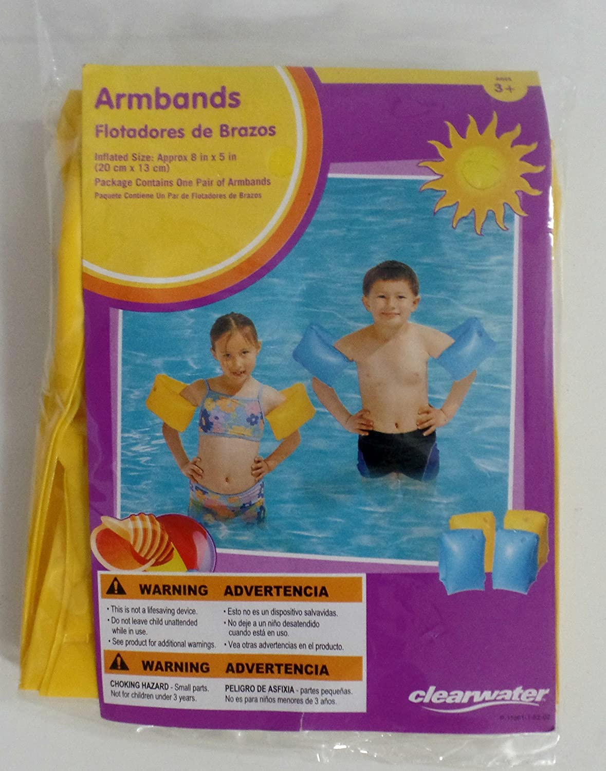 Amazon.com : Clearwater Armbands Manguitos (Blue or Yellow) (Blue) : Swim Floatation Devices : Sports & Outdoors