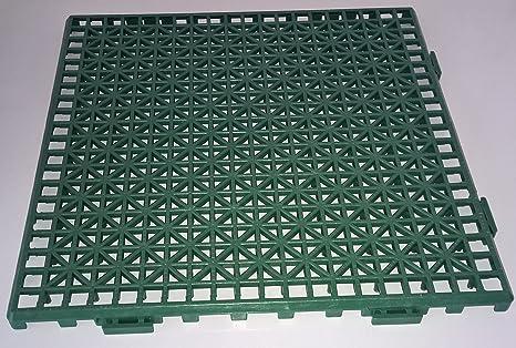 NOVINGRECONS Baldosa PP 30x30cm Verde (Paquete 24 ud.). Suelo Plastico. Suelo