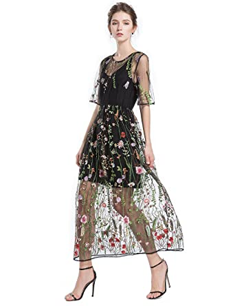 e2a00ec36 ENKA Women s Embroidered Floral Evening Dress Spliced Tulle Maxi Lace Mesh  Hollow Out Cocktail Dresses with