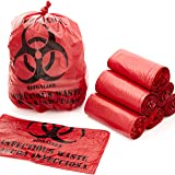 "No Leak, Hospital Grade Biohazard Waste Bags 150 Pk. 10 Gallon, 24"" Red Trash Liner With Hazard Symbol For Infectious…"