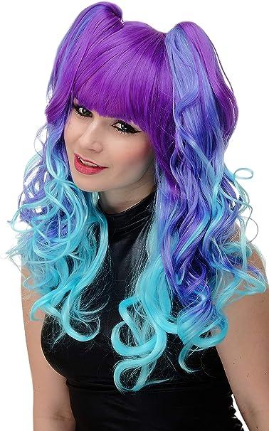 WIG ME UP- peluca de 3 partes + trenzas de quita y pon peluca de mujer cosplay pelo largo rizado ombré turquesa violeta azulado azul neón flequillo ...