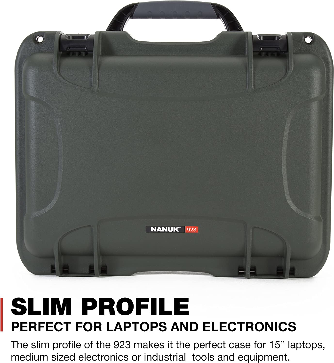 Black Nanuk 923 Waterproof Hard Case with Padded Dividers and Incorporated TSA Approved Travel Lock Latches