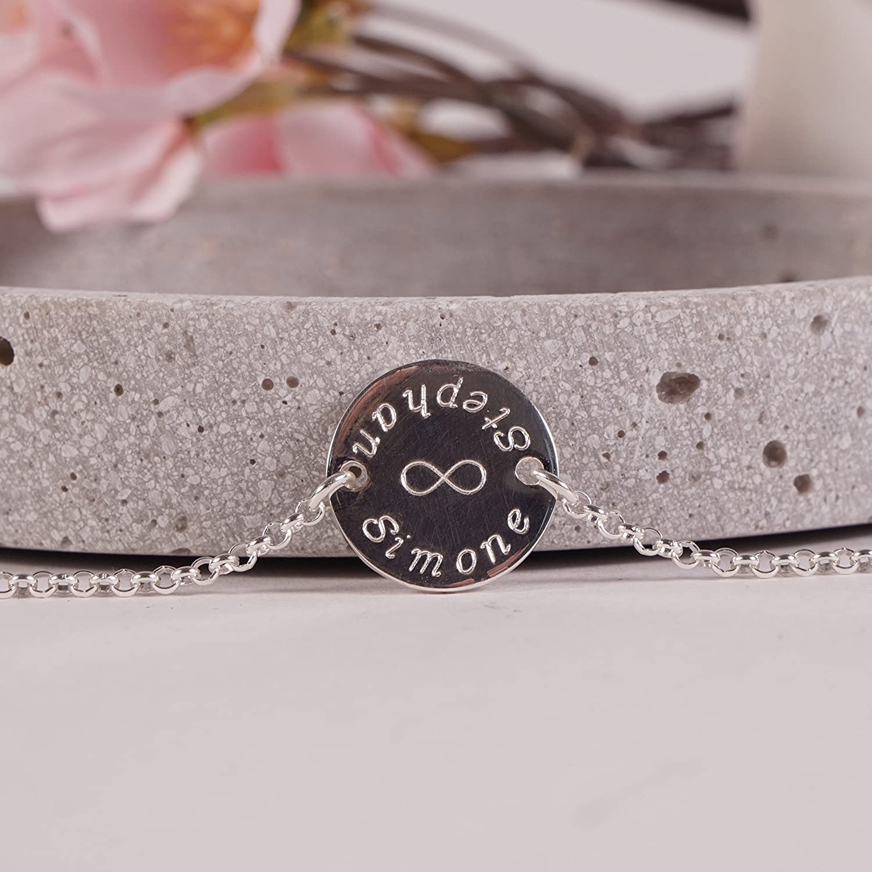 Armband mit Namensgravur Armband mit Gravur Namensarmband F/ür immer 925er Silber personalisiertes Armband Silberarmband mit Gravur