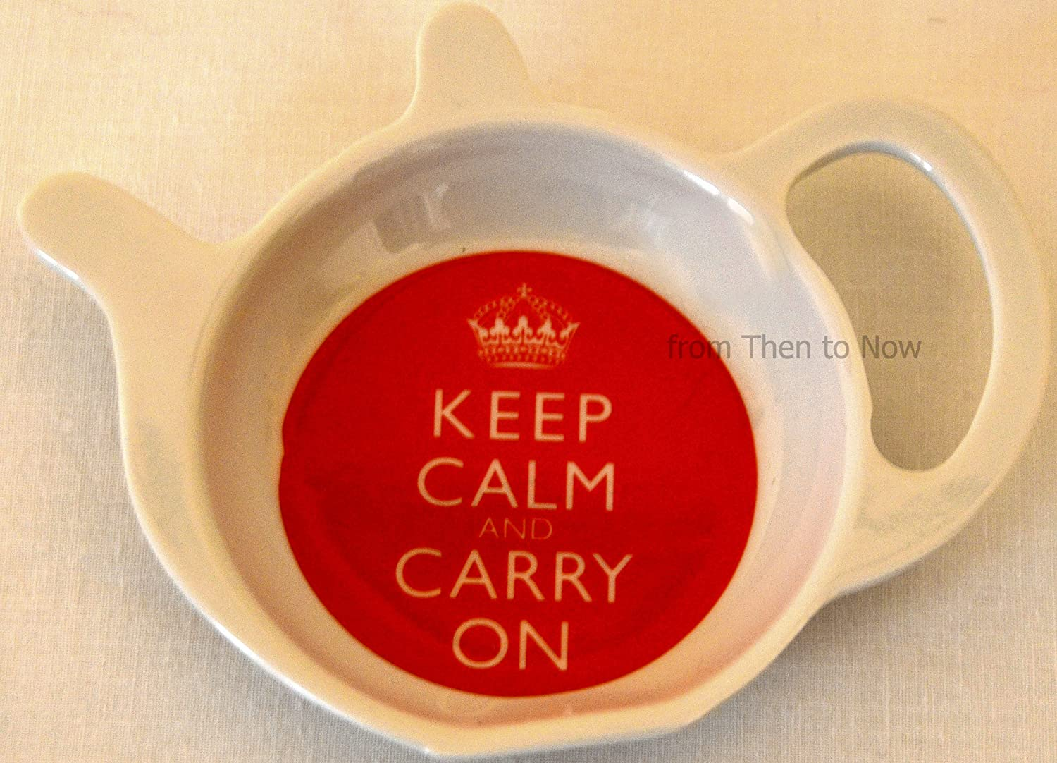 Keep Calm And Carry On Tea Bag Tidy Rest Holder Red & White Melamine LP98851