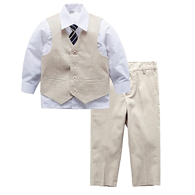 6fb467093c124 Y   Z Boy Wedding Formal Christening 4pc Stone Linen Blend Suit (4-5
