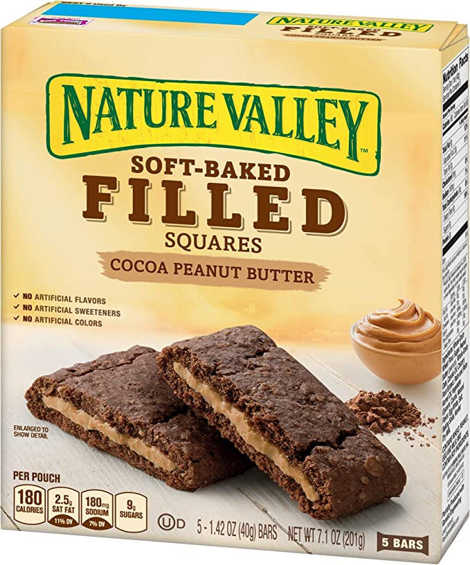 Nature Valley Soft Baked Filled Squares Cocoa Peanut Butter, 7.1 oz