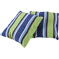 Inspired Home Living 2 Pack 15x15 Pillow Cushions - Blue and Green Striped - Best Used for Hammocks, Hammock Chairs, Patio Swings - Indoor and Outdoor (45x45cm)